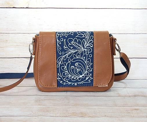 Modrotlačová kožená kabelka Eliška AM 3