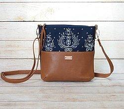 Kabelky - Modrotlačová  kožená kabelka Dara AM 9 - 13840770_