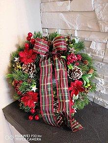 Dekorácie - Vianočný veniec s mašlou 30cm - 13841039_