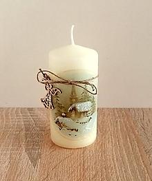 Svietidlá a sviečky - vianočná sviečka dedinka v zime - 13844690_