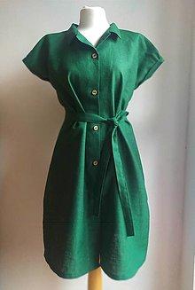 Šaty - Ľanové šaty na gombíky - 13841524_