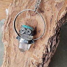 Náhrdelníky - Cínovaný náhrdelník - Krištáľ s tyrkenitom - 13849390_