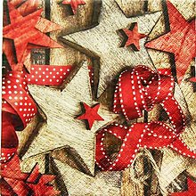Papier - S833 - Servítky - mašľa, hviezda, stuha, bodky - 13845651_
