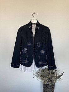 Kabáty - Sako elegantné v tmavomodrom veľ.36 - 13846979_