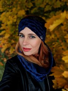 Čiapky - minki flísová čelenka tmavě modrá - 13846252_