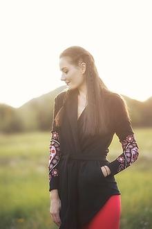 Mikiny - čierny kardigan Srdce z čepca - 13846092_