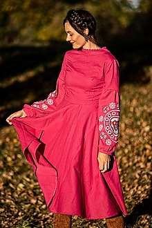 Šaty - ružové ľanové šaty Srdce z čepca - 13846198_