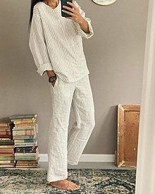 Oblečenie - Pánske ľanové pyžamo - 13847997_