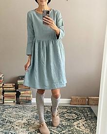 Šaty - Ľanové šaty SOPHIA midi - 13848063_