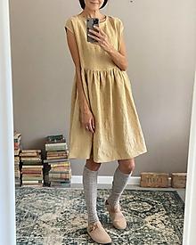 Šaty - Ľanové šaty AMELIA midi - 13848133_