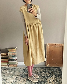 Šaty - Ľanové šaty AMELIA dlhé - 13848180_
