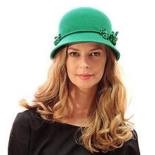 Čiapky, čelenky, klobúky - Klobúk Daisy - zelený - 13846125_