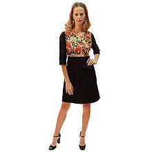 Šaty - Sienna - japonská ruža, čierne šaty s podšívkou - 13849628_
