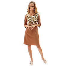 Šaty - Sienna - japonské žeriavy, hnedé šaty - 13849641_