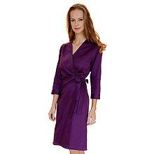Šaty - Kelly - fialové zavinovacie šaty, 3/4 rukáv - 13849654_
