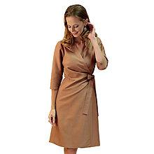Šaty - Kelly - hnedé zavinovacie šaty, 3/4 rukáv - 13849694_