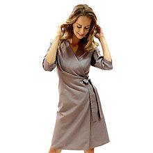 Šaty - Kelly - šedé zavinovacie šaty, 3/4 rukáv - 13849700_