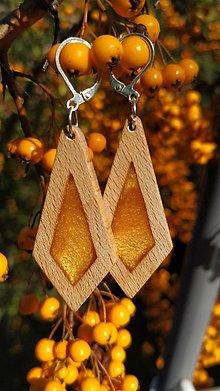 Náušnice - Drevené náušnice so živicou  vyrobené z bukového dreva a háčiky sú zo striebra. .Rôzne farebné prevedenia aj na želanie. - 13851533_
