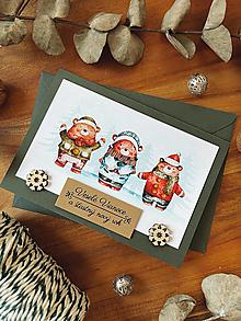 Papiernictvo - Vianočná pohľadnica Mackovia - 13851790_