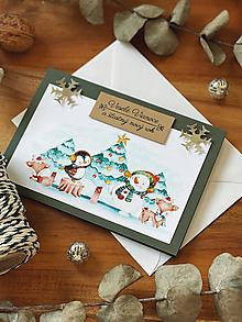 Papiernictvo - Vianočná pohľadnica Zasnežené zvieratká - 13851797_