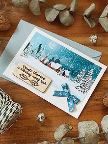 Papiernictvo - Vianočná pohľadnica Zasnežená krajinka - 13851803_