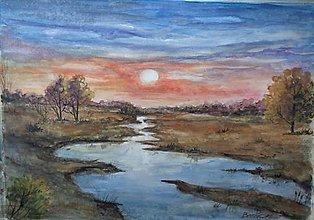 Obrazy - Na sklonku dňa 2 (akvarel) - 13853348_