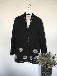 Kabáty - Kabátik úpletový čierny s kruhovými aplikáciami veľ.36 - 13851876_