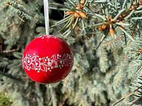Iné doplnky - Vianoce - červené vianočné gule jemný dekor - 13852187_