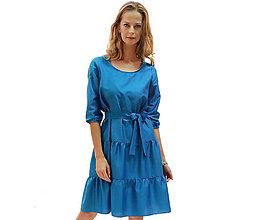Šaty - Apple - tyrkysové volánové šaty - 13852614_