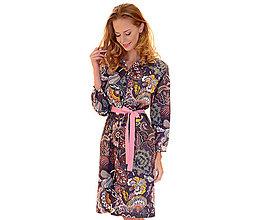 Šaty - Nancy - košeľové šaty, vzor na fialovej - 13852645_