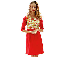 Šaty - Sienna - japonská ruža, červené šaty s podšívkou - 13852646_