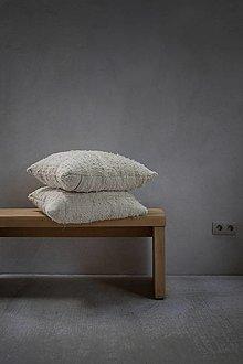 Úžitkový textil - VEĽKÝ RUČNE TKANÝ vankúš / prírodná biela / 55 x 60 cm - 13852543_