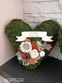 Dekorácie - Machove smútočné srdce 25cm s tabuľkou - 13851452_