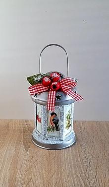 Svietidlá a sviečky - vianočný zasnežený lampášik - 13854181_