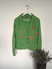Kabáty - Zelené bavlnené sako veľ.M - 13854959_