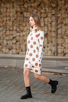 Šaty - Teplákové balónové šaty/tunika Muriel Coffee - 13857812_