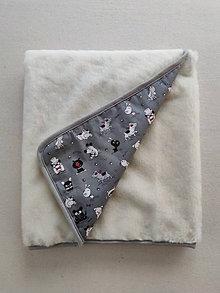 Úžitkový textil - Vlnienka Vlnená deka do postieľky 100% merino Top super wash Psíček šedý - 13856593_