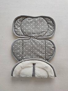 Textil - VLNIENKA podložka do autosedačky vajíčko Avionaut pixel 0+ / 0-13kg 100% Merino Top Super wash Hviezdičky šedé - 13856814_