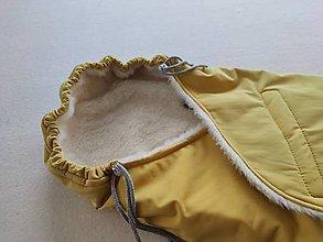 Textil - Fusak do kočíka zo 100% ovčej vlny MERINO top super wash Softshel MUSTARD - 13858552_