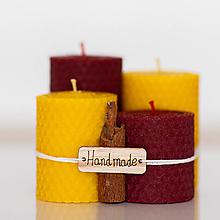 Svietidlá a sviečky - Sviečka zo 100% včelieho vosku - Točené hrubé - Bordové - 13857507_