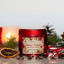 Svietidlá a sviečky - Sviečka zo 100% sójového vosku v plechovke Red - Jablko-Hruška-Karamel - 13857553_