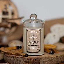 Svietidlá a sviečky - Sviečka zo sójového vosku v skle - Myrha&Kadidlo - 13857992_