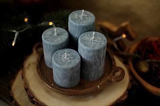Svietidlá a sviečky - Mrazivé adventné sviečky - SIVÉ (Šedá - tmavá) - 13855051_