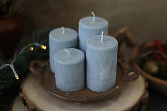 Svietidlá a sviečky - Mrazivé adventné sviečky - SIVÉ (šedá  svetlá) - 13855055_