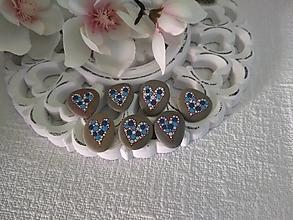 Drobnosti - Modrobiele srdiečka - Na kameni maľované - 13858516_
