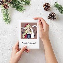 Papiernictvo - Vianočná pohľadnica Dievčatko s húskou - 13856691_