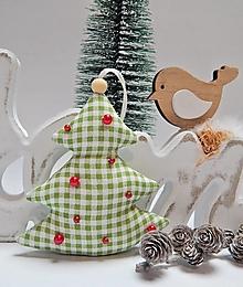 Dekorácie - Vianočné ozdôbky - zeleno biele káro - stromček - 13855850_