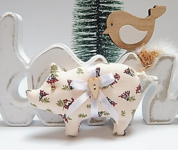 Dekorácie - Vianočné ozdôbky - prasiatko - 13856051_