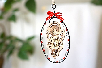 Dekorácie - zasnežený anjel (červený) - 13854637_
