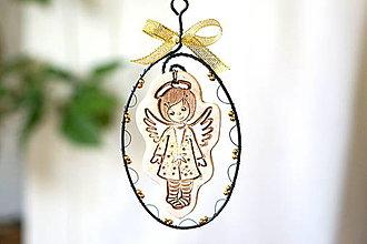 Detské doplnky - zasnežený anjel ( zlatý) - 13854754_